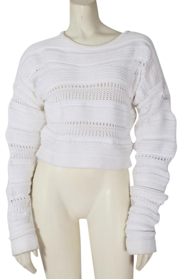 e540305f Helmut Lang Knitted Cropped Sleeve White Sweater - Tradesy