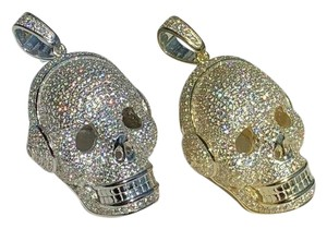 Harlembling 14k Gold Over Solid 925 Silver Skull Headphone Pendant 14k Gold Large