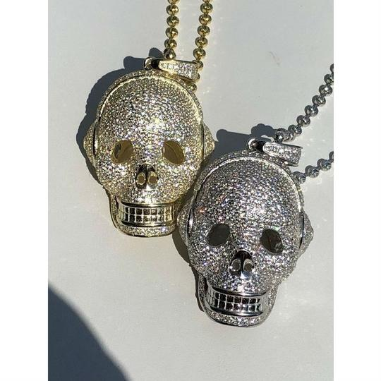 Harlembling 14k Gold Over Solid 925 Silver Skull Headphone Pendant 14k Gold Large Image 1