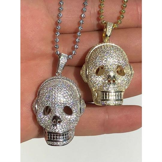 Harlembling 14k Gold Over Solid 925 Silver Skull Headphone Pendant 14k Gold Large Image 3