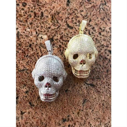 Harlembling 14k Gold Over Solid 925 Silver Skull Headphone Pendant 14k Gold Large Image 5