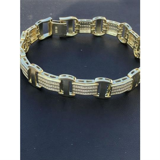 Harlembling 14k Gold Over Solid 925 Silver W. 8ct Diamonds Icy Hip Hop Men's Brace Image 3