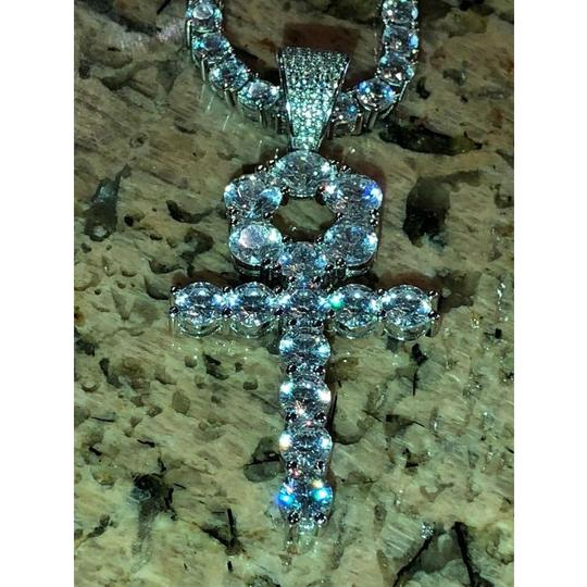 Harlembling 4mm Single Row Tennis Chain W. Ankh Cross 925 Sterling Silver 80ct Lab Image 3