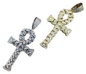 Harlembling Ankh Cuban Link Cross 14k Gold Solid 925 Sterling Silver Pendant 1ct