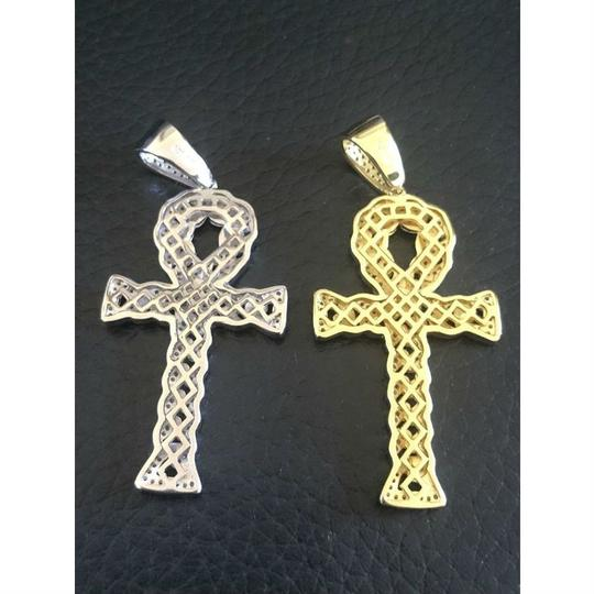 Harlembling Ankh Cuban Link Cross 14k Gold Solid 925 Sterling Silver Pendant 1ct Image 3