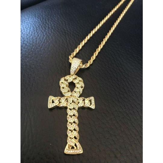 Harlembling Ankh Cuban Link Cross 14k Gold Solid 925 Sterling Silver Pendant 1ct Image 6