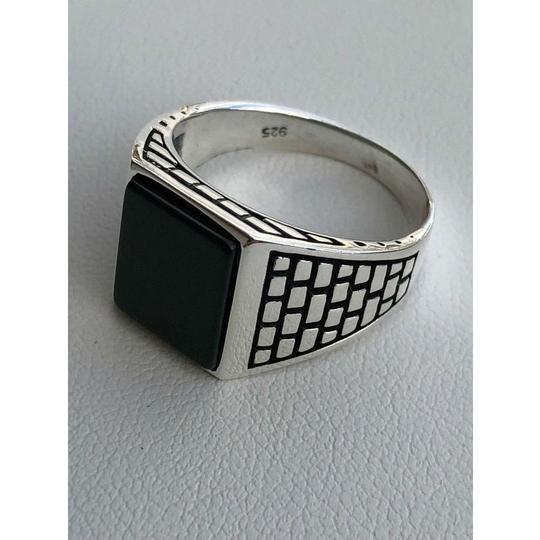 Harlembling Handmade Real Solid 925 Sterling Silver Black Onyx Square Ring Sizes 7 Image 1