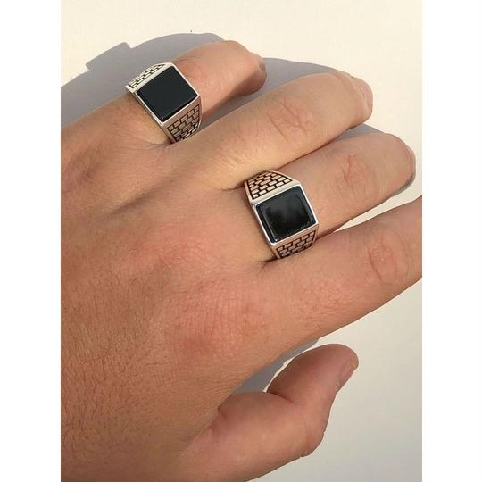 Harlembling Handmade Real Solid 925 Sterling Silver Black Onyx Square Ring Sizes 7 Image 2