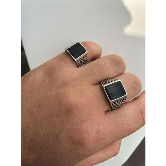 Harlembling Handmade Real Solid 925 Sterling Silver Black Onyx Square Ring Sizes 7 Image 3