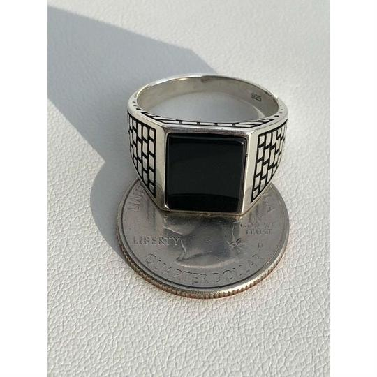 Harlembling Handmade Real Solid 925 Sterling Silver Black Onyx Square Ring Sizes 7 Image 5