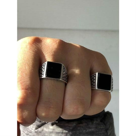 Harlembling Handmade Real Solid 925 Sterling Silver Black Onyx Square Ring Sizes 7 Image 6