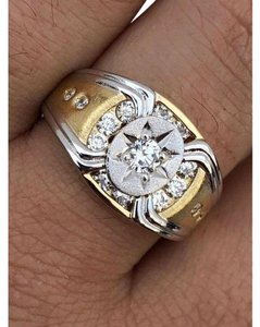 Harlembling Men 14k Gold & Real Solid 925 Silver Iced Out Star Ring Size Man Made
