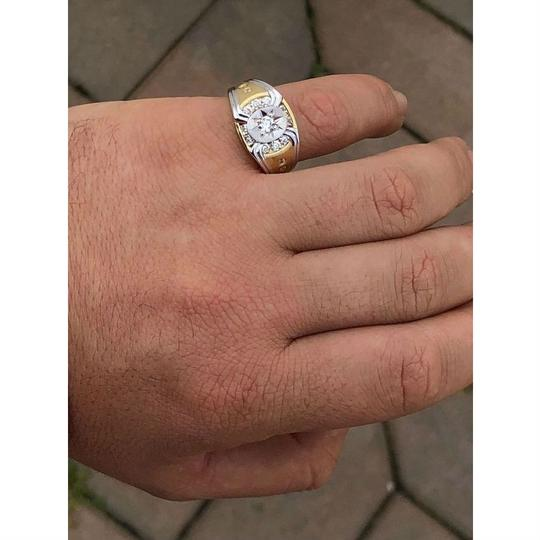 Harlembling Men 14k Gold & Real Solid 925 Silver Iced Out Star Ring Size Man Made Image 1
