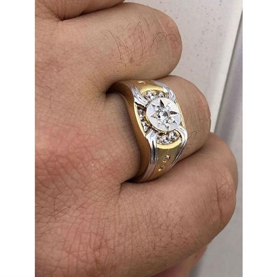 Harlembling Men 14k Gold & Real Solid 925 Silver Iced Out Star Ring Size Man Made Image 2