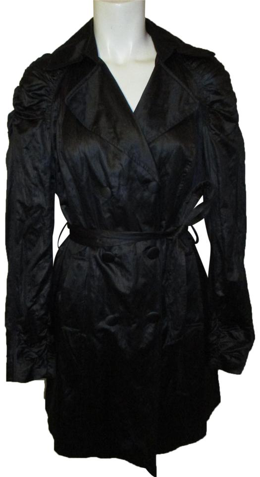 a5f909fc11f INC International Concepts Black Double Breasted Belted Coat Size 8 ...