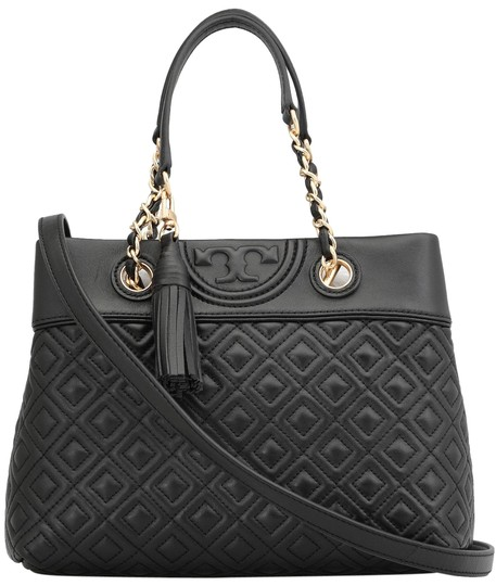 Tory Burch Fleming New Small Tassel Quilted Black Leather