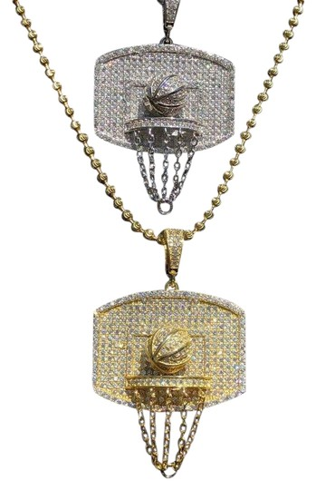 Harlembling Men Solid 925 Silver Basketball W. Hoop Diamond Pendant W. Chain 14k Image 0