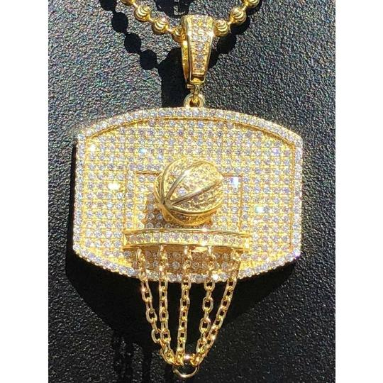 Harlembling Men Solid 925 Silver Basketball W. Hoop Diamond Pendant W. Chain 14k Image 7