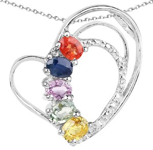 Apples of Gold MULTI-SAPPHIRE GEMSTONE HEART NECKLACE, STERLING SILVER