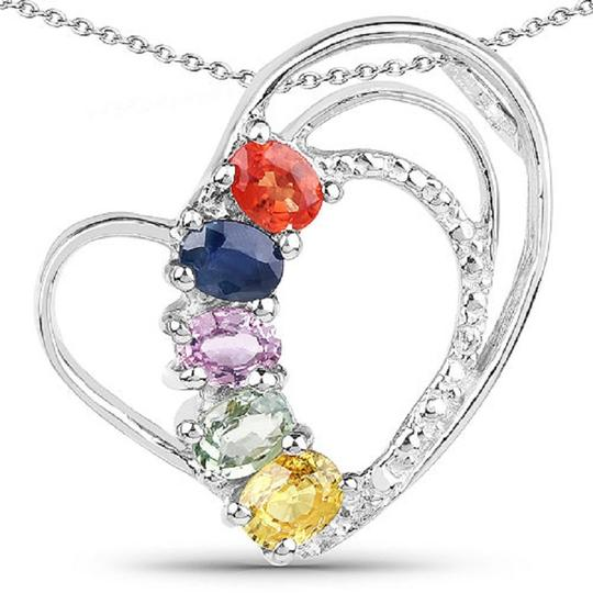 Apples of Gold MULTI-SAPPHIRE GEMSTONE HEART NECKLACE, STERLING SILVER Image 1