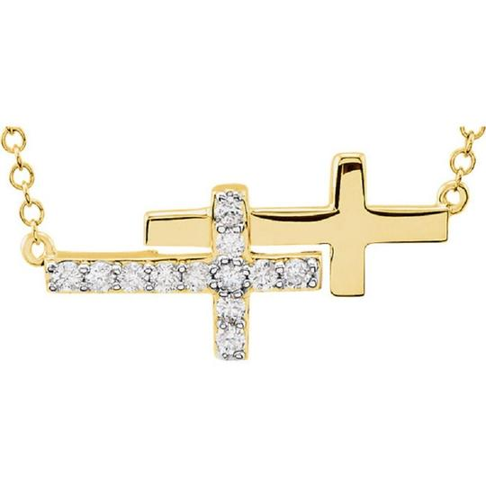 Apples of Gold DOUBLE DIAMOND SIDEWAYS CROSS NECKLACE, 14K YELLOW GOLD Image 2