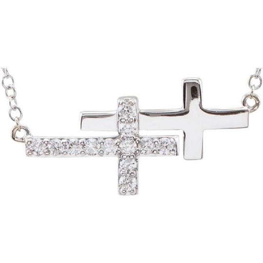 Apples of Gold 14K WHITE GOLD DOUBLE DIAMOND SIDEWAYS CROSS NECKLACE Image 1