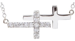 Apples of Gold STERLING SILVER DOUBLE SIDEWAYS CROSS NECKLACE WITH CZ