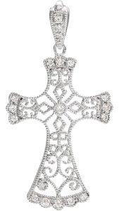 Apples of Gold VINTAGE STYLE DIAMOND CROSS NECKLACE, 14K WHITE GOLD