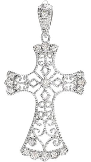 Apples of Gold VINTAGE STYLE DIAMOND CROSS NECKLACE, 14K WHITE GOLD Image 0