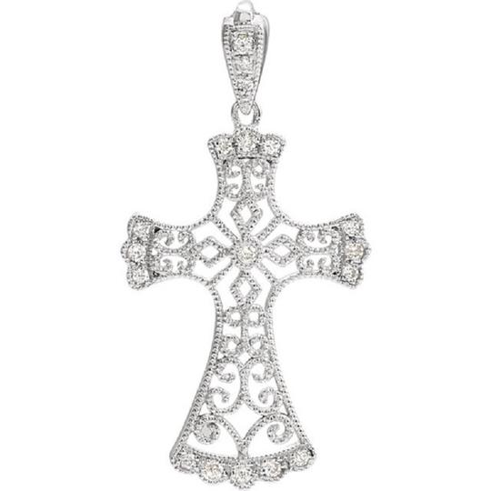 Apples of Gold VINTAGE STYLE DIAMOND CROSS NECKLACE, 14K WHITE GOLD Image 2