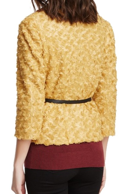 insight 3/4 Sleeve Belt Included Peter Pan Collar Lined Super Fun Gold Jacket Image 2