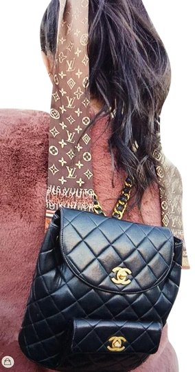 Chanel Leather Vintage Classic Backpack Image 1