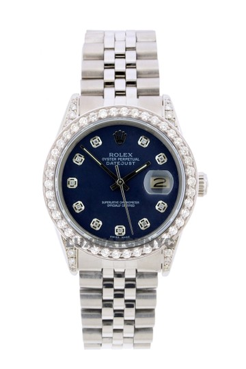 ROLEX 2.5ct 36mm Datejust Stainless Steel W/ Box & Appraisal W Watch Image 0
