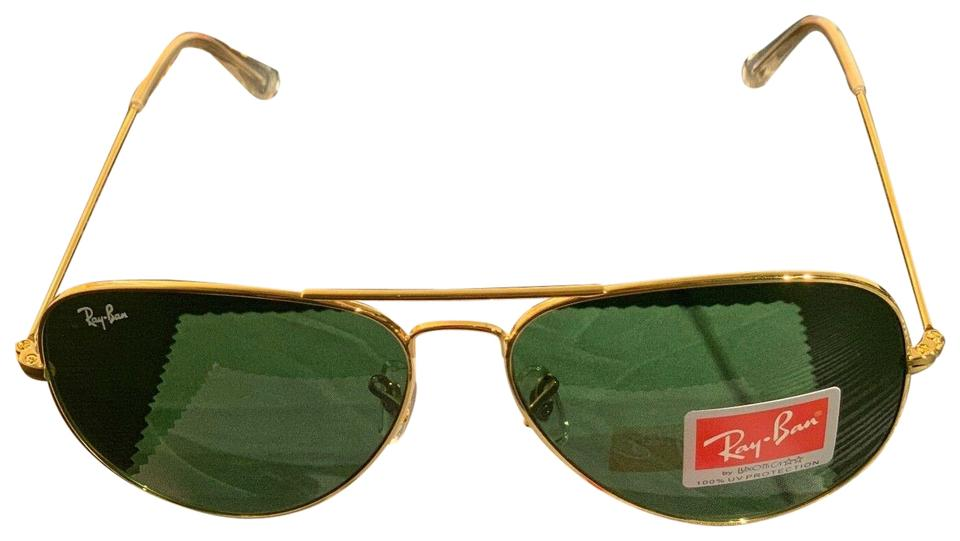 c159128a75016 Ray-Ban Green Gold Pilot Style Green Gold Aviator Classic Sunglasses ...