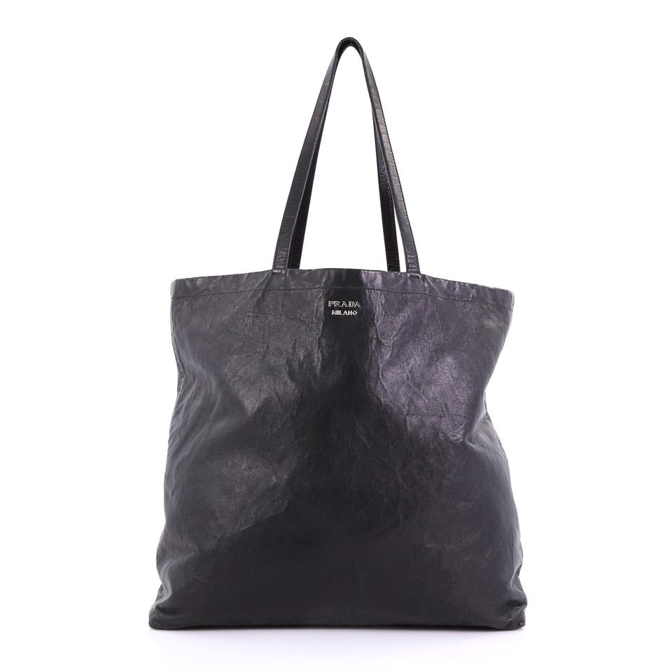 ca025731880f Prada Reversible Nappa Antique Tall Black Leather Tote - Tradesy