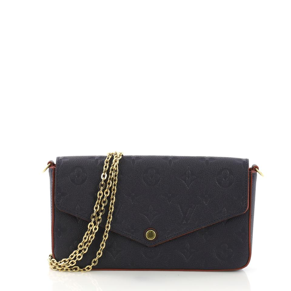 Louis Vuitton Pochette Felicie Monogram Empreinte Navy Leather Cross Body  Bag 364825d934397