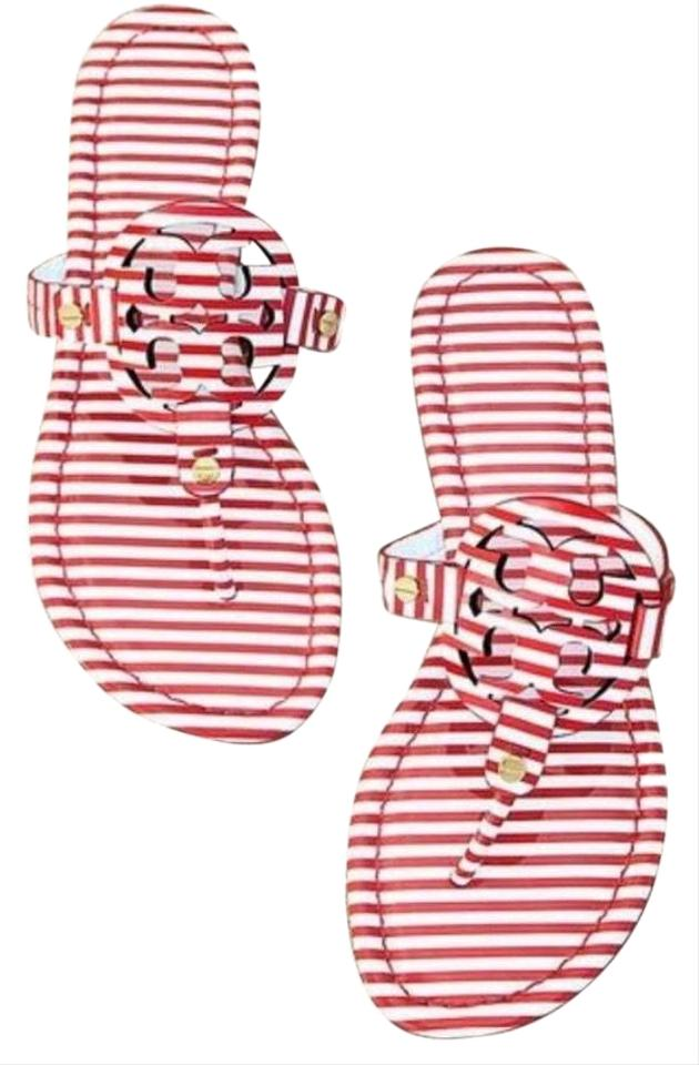 44fa0379861 Tory Burch Red White Nautical Stripes Small Nantucket Miller Sandals ...