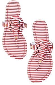 Tory Burch Nautical Miller Stripes Red White Sandals
