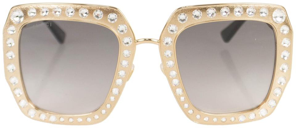 b32106d8927 Gucci Gold Crystal Encrusted Oversized Square Frame Sunglasses Image 0 ...