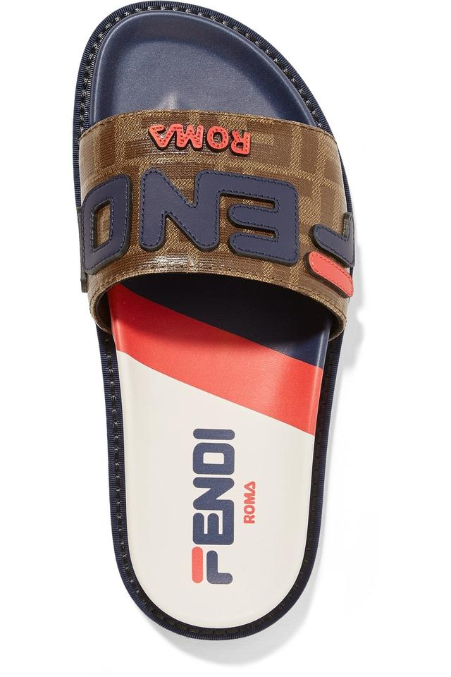755e3bd20299 Fendi Logo-appliquéd Printed Coated-canvas and Rubber Slides Sandals ...