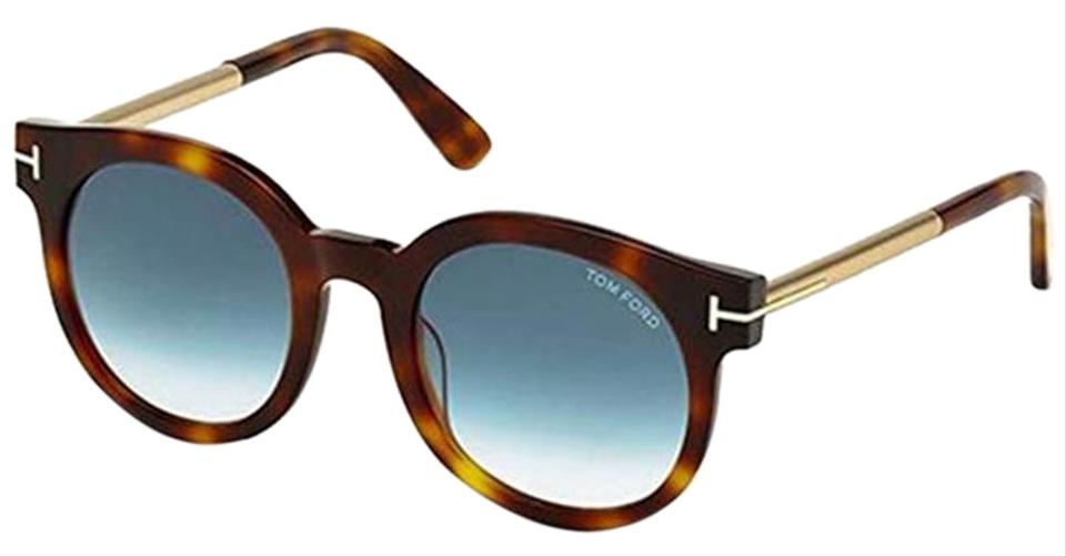f1322ca95fa5c Tom Ford Havana Frame   Blue Gradient Lens Women Round Sunglasses ...