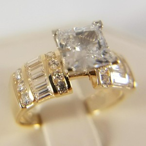Yellow Gold 14k Solid 2ct Princess Cut Size 7 Engagement Ring