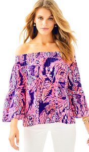 Lilly Pulitzer Top Bright Navy A Jungle In Here