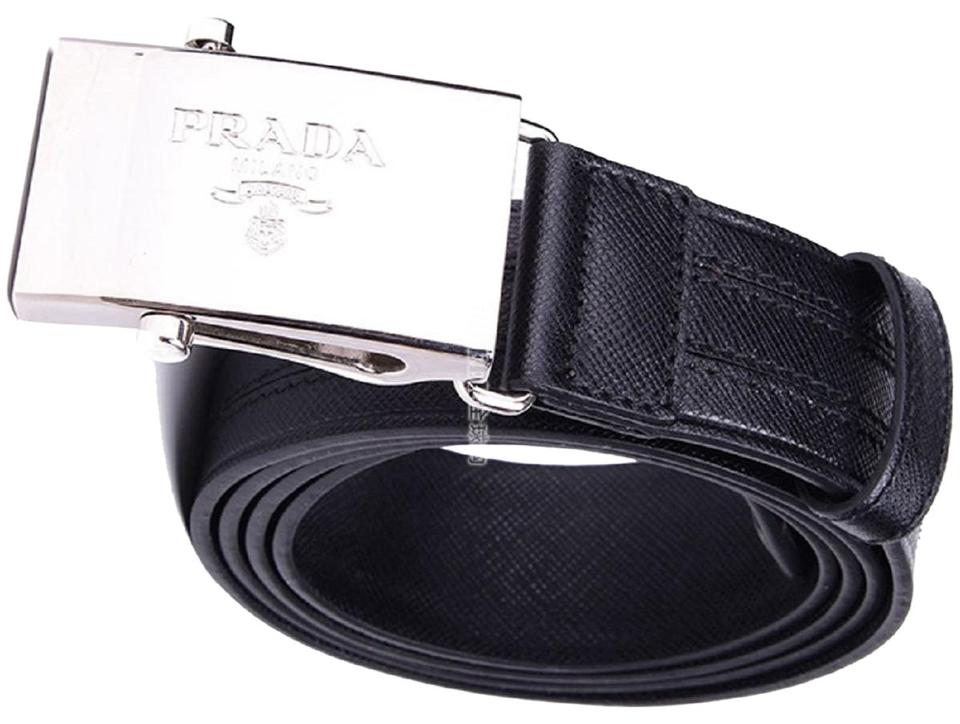 5ae938b5559ba Prada Black Men's Logo Engraved Plaque Saffiano Leather 2cm009 Belt ...