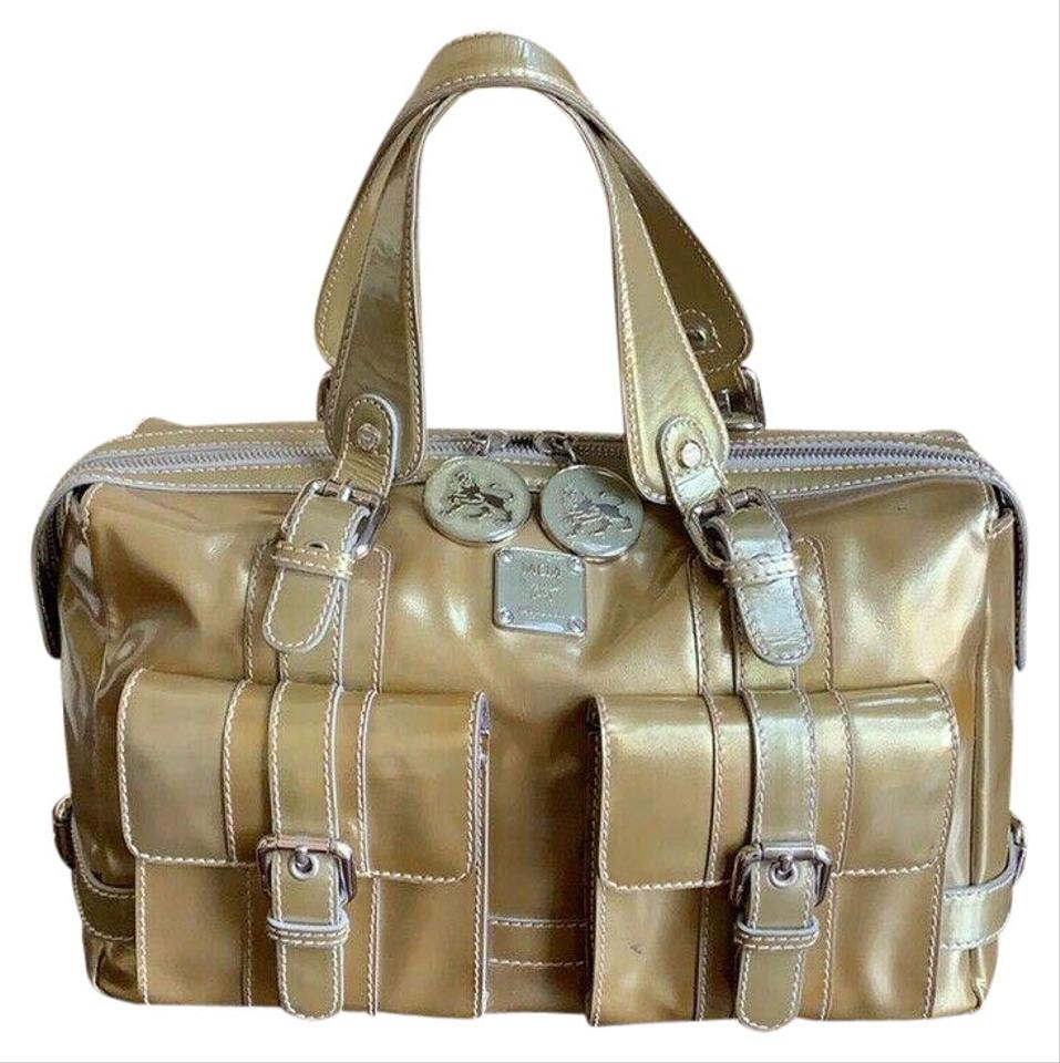 08e7ee0a6 MCM Boston Speedy Patent Leather Gucci Satchel in Metallic Gold Image 0 ...