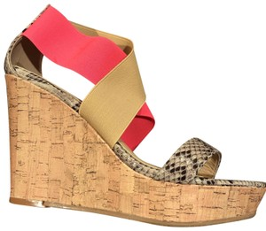 CL by Laundry Pink, Tan and snakeskin Wedges