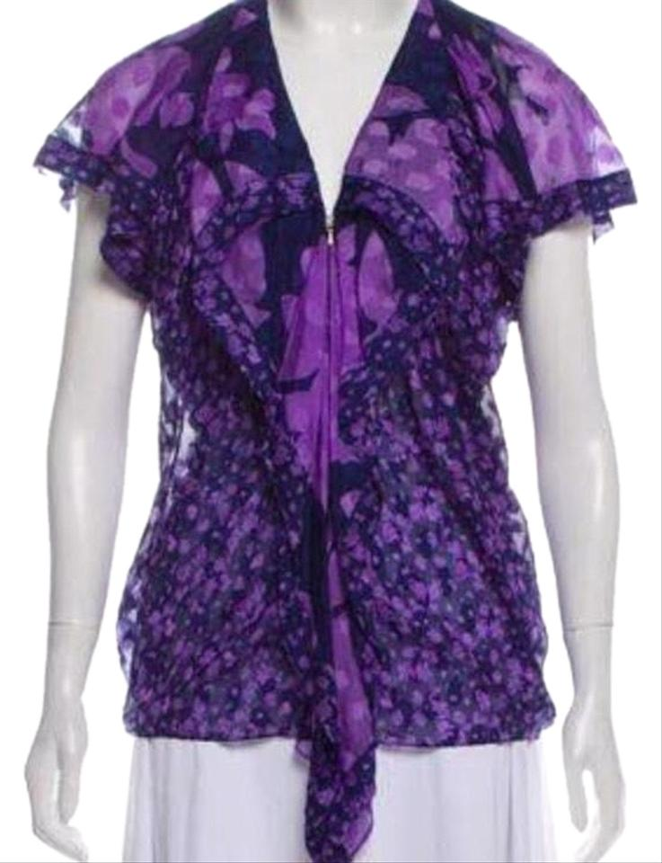 3ecfcdc90d9b3 3.1 Phillip Lim Navy and Lavender Silk Printed Blouse Size 0 (XS ...