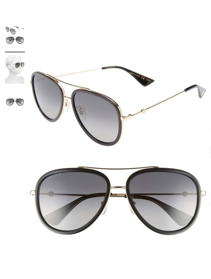 a109844a04 Gucci Authentic New Women s Gucci Black and Gold Aviator Sunglasses Image 0  ...