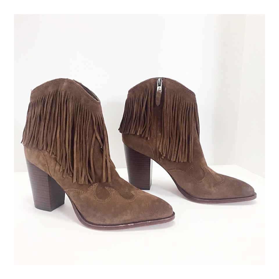 adcb31e294c9ce Sam Edelman Brown Suede Fringe Ankle Boots Booties Size US 10 ...