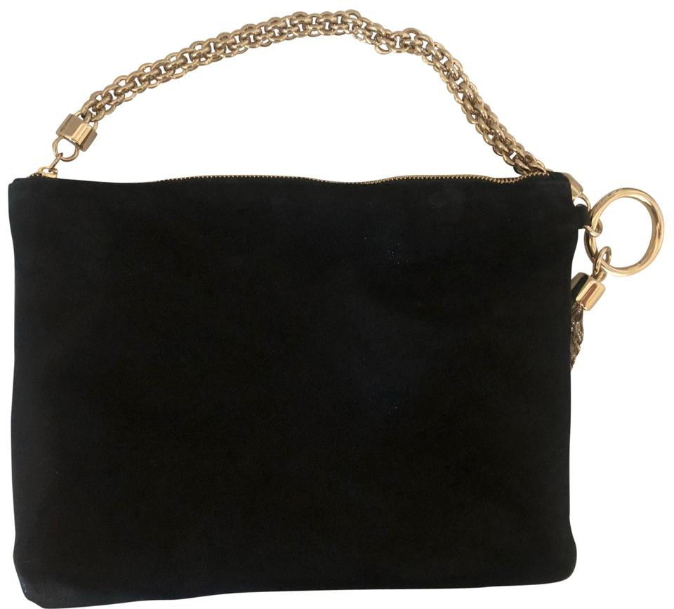 c0a0502f70a Jimmy Choo Callie Evening Shimmer Clutch Black Suede Wristlet - Tradesy